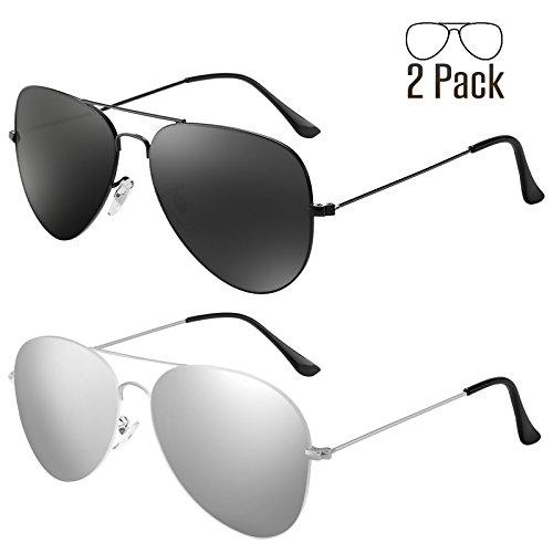 LIVHO G 2 Pack of Sunglasses for Men Women Aviator Polarized Metal Mirror UV 400 Lens Protection (Black - Sunglasses Coating Mirror