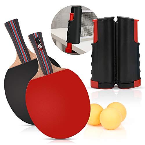 Juego de tenis de mesa, 2 pelotas de ping-pong, 3 pelotas y red retractil con bolsa de almacenamiento portatil Juego instantaneo para escuelas en el hogar Club deportivo o mesa de comedor (Negro)