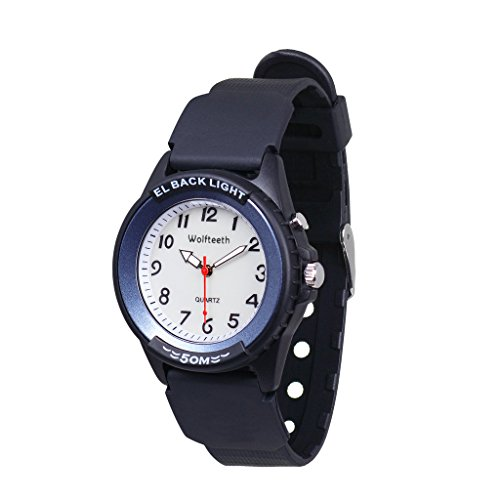 Wolfteeth Analog Quartz Boys Wrist Watch with Second Hand Luminous Backlight White Dial Water Resistant Fashion Watch Blue #305202