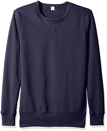 Alternative Men's Vintage Sport French Terry B-Side Reversible Crew Neck, Navy, L