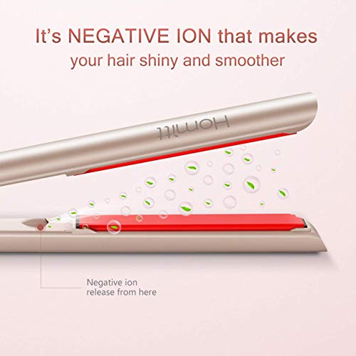 Homitt Hair Straightener, Pro Ceramic Flat Iron with Negative Ion Dual Voltage Travel Design for All Hair Style with 3D Floating Plates Adjustable Temperature 250-450F