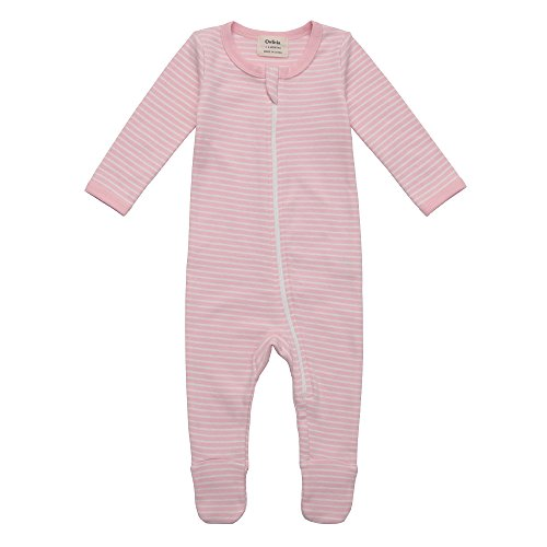 Owlivia Organic Cotton Baby Boy Girl Zip Front Sleep 'N Play, Footed Sleeper, Long Sleeve (Size 0-18 Month) (3-6 Months, Pink Stripe) (Stripe Knit Layette)