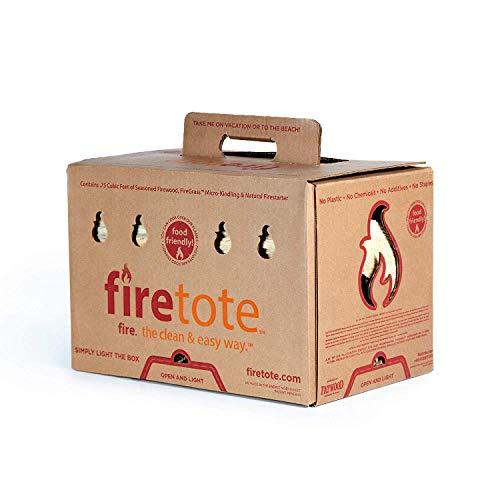 Firetote Box Original - 15lbs / .75 Cubic ft - Kiln Dried Wood Logs Firewood & Kindling - Safe & Natural Fire Starter