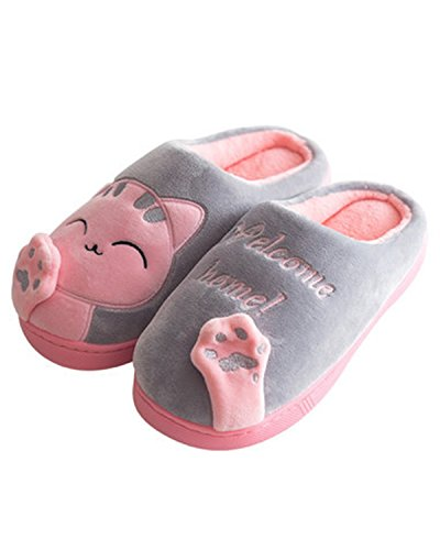 Pantofole Donna William & Kate Calde Pantofole Skid In Morbido Cotone Antiscivolo Plus A Casa Grigio