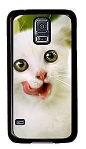 Diy Fashion Case for Samsung Galaxy S5,Black Plastic Case Shell for Samsung Galaxy S5 i9600 with White Kitten