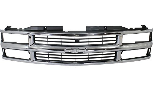 Evan-Fischer EVA17772010583 Grille for Chevrolet C/K Full Size P/U 94-00/Suburban 94-99 Cross Bar Insert Chrome Shell/Painted-Silver Insert W/ Dual/Composite Headlight Replaces Partslink# GM1200238