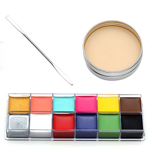 CCbeauty 3PC Set Professional Halloween Makeup kit Special Effects Stage Makeup Fake Wound Scars Wax + Oil Painting(flash color) + Spatula Tool for $<!--$27.99-->