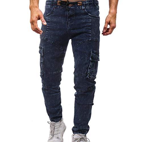 Fit Pantaloni Chino Ssige Slim Uomo Casual Blau Cargo Estivi T Sportivi Da Moderna Jeans ST0rpSFn