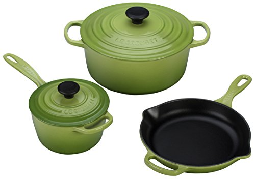 - Le Creuset 5 Piece Signature Enameled Cast Iron Cookware Set, Palm