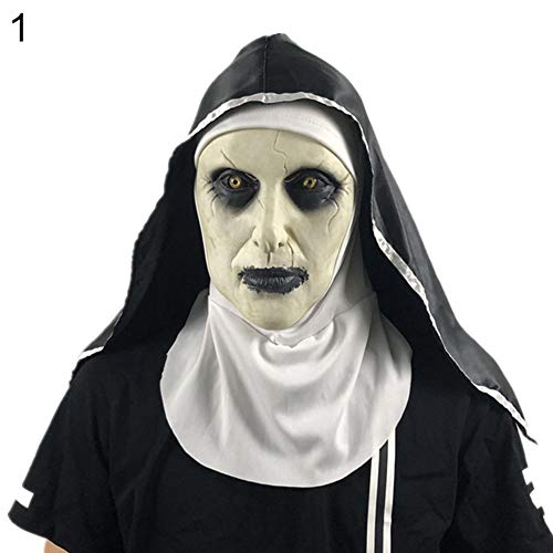 Afco Halloween Scary Spooky Latex Women Ghost Nun Mouth Mask Costume Party Prank Prop Surprise Day 1]()