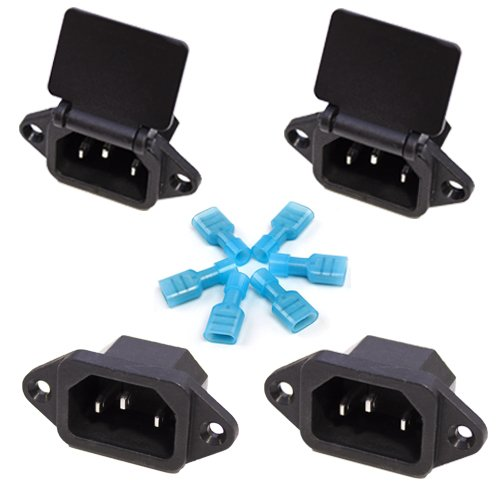 Gadgeter 4 Pcs Screw Mount 3 Pins IEC320 C14 Inlet Power Plug Socket AC 250V 10A Black + Nylon Female Fully-Insulated Quick Disconnects (4-pack) ()