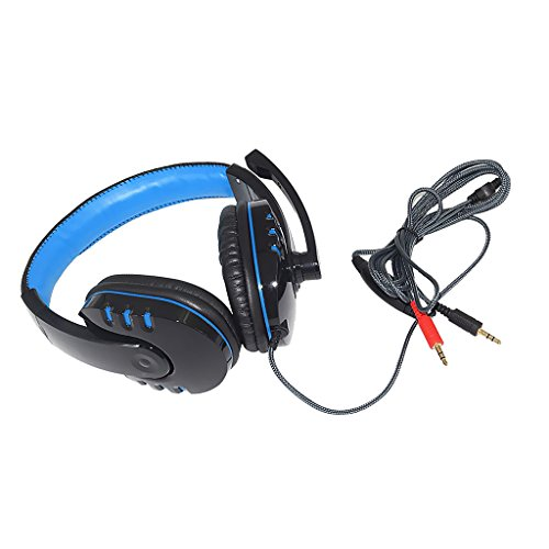 MonkeyJack USB Wired Surround Stereo Micphone PC Gaming Headset Over Ear Headphone with Mic for Sony PS3 PS4 PC Black+Blue