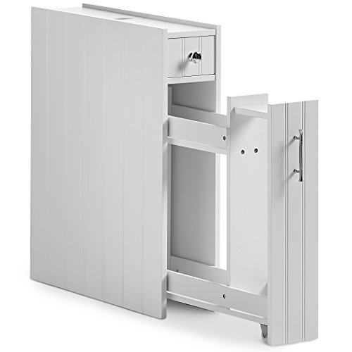 VonHaus Slimline Bathroom Storage Cabinet Unit with Drawer and Small Compartments - Classic White Furniture with Chrome Handles (Includes All Hardware) by VonHaus