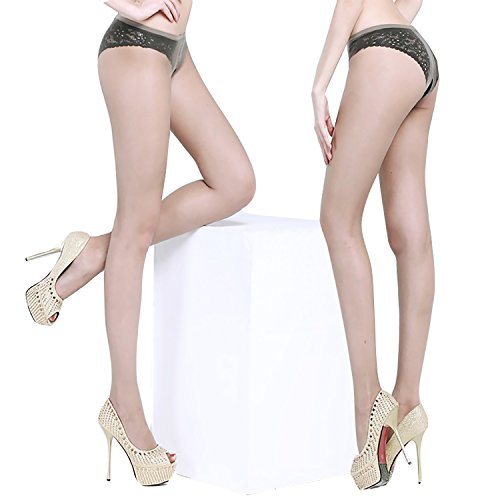 Crotchless Pantyhose for Sexy(2 Pairs)- Sheer 8D Gloss Effect Open Crotch Free Tights Coffee
