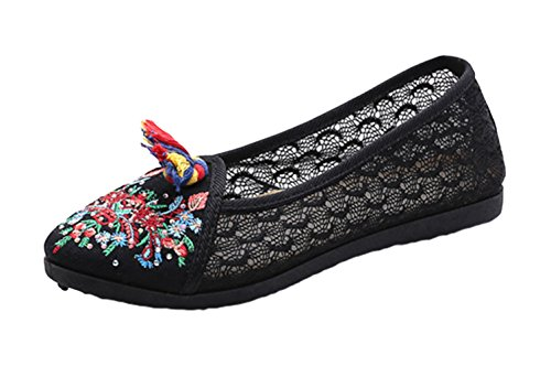 AvaCostume Hot Drill Embroidery Womens Lace Rubber Sole Loafer Shoes Black Gtwcozrzj
