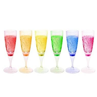RioRand® LED Wine Champagne Light Up Glasses LED Liquid Activated x 6 Glasses(6 different colors)