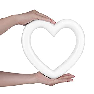 Sundarling Heart Shaped Foam Wreath, White Polystyrene Foam Heart Wreath for Craft Projects and Wedding Decorations,9.4 x 1.5 x 9.4 Inches 31