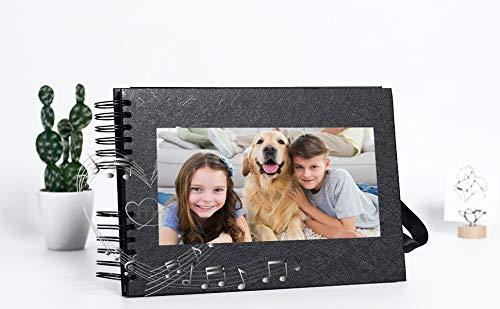 bemece Fotoalbum Scrapbook, Fotoalbum zum Selbstgestalten 40 Schwarze Blätter(80 Seiten), DIY Fotoalbum für Baby Hochzeit Valentinstag Geburtstag Geschenk