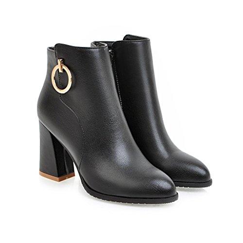 BalaMasa Womens Kitten-Heels Zipper Pointed-Toe Solid Chunky Heels Urethane Boots ABL09652 Black rI4C8