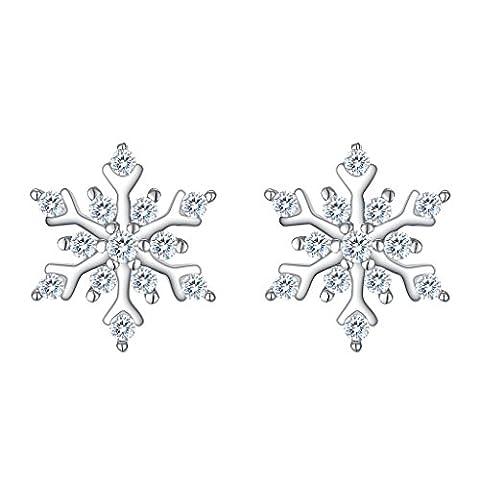 EleQueen 925 Sterling Silver Cubic Zirconia Winter Snowflake Stud Earrings 11mm Clear Holiday Gift (Sterling Snowflake Earrings)