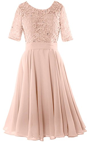 MACloth Elegant Short Mother of the Bride Dress Half Sleeves Lace Formal Gown Bellini
