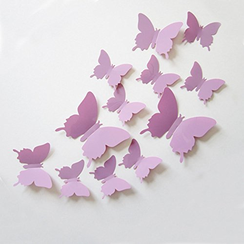 12Pcs Art Decal Home Decor Room Wall Stickers 3D Butterfly Stickers Decorations - 6