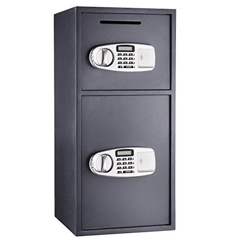 Dark-Gray-NEW-Digital-Double-Door-Safe-Depository-Drop-Box-Safes-Cash-Office-Security-Lock