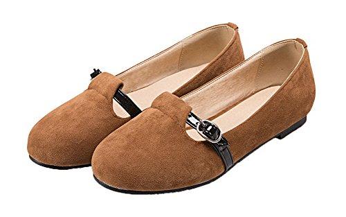 AgooLar Damen Ohne Absatz Schön Velours Ziehen auf Schließen Zehe Pumps Schuhe Gelb