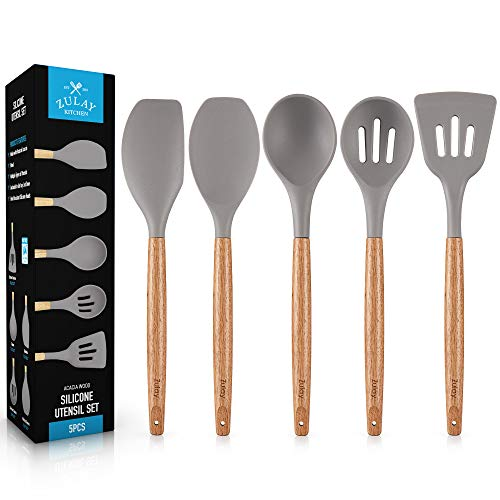 Premium 5 Piece Silicone Utensils Set with Authentic Natural Acacia Hardwood Handles, All Purpose Silicone Spatulas Kitchen Set, Wood Cooking Utensils Set Safe for Non-Stick Cookware by Zulay Kitchen