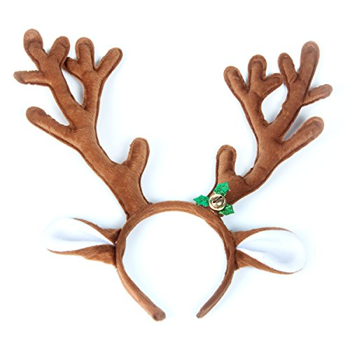 Mavee Cute Reindeer Antlers Headband Headwear Hair Hoop for Christmas Headbands ,Party,Cosplay,Halloween and Masquerade Hair -