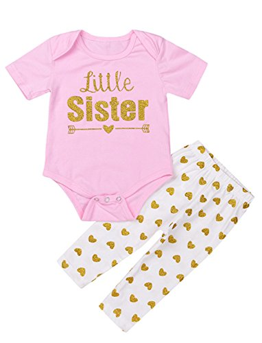 Baby Girls Outfits 0-6 Months 2 Pieces Gloden Little Sister Heart Arrow Clothes Short Sleeve Bodysuit Top Rompers Long Pants