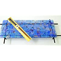 New Cobalt Blue Fused Glass Sushi Plate or Candle Holder, Black Metal Stand and Chopsticks Food Safe