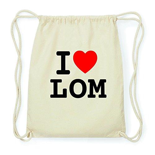 JOllify LOM Hipster Turnbeutel Tasche Rucksack aus Baumwolle - Farbe: natur Design: I love- Ich liebe cLNaWs