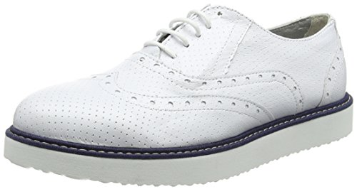 Ippon Vintage Andy-perfo1, Scarpe Stringate Derby Donna Bianco (Blanc)