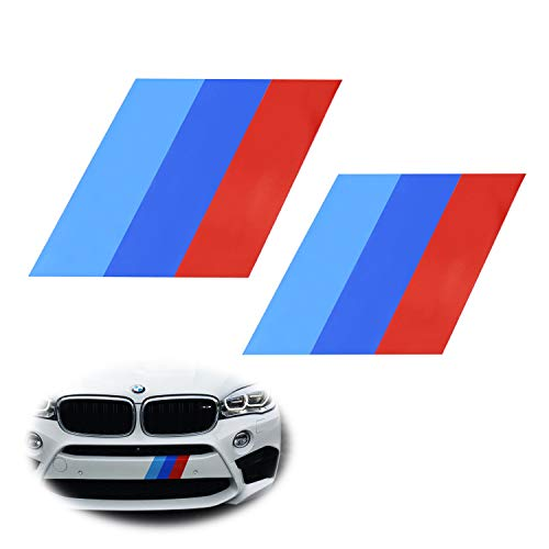 (iJDMTOY (2) 7x7-Inch Iconic M-Performance Tri-Color Decal Stickers For BMW Side Skirt, Bumper, Hood Cosmetic Decoration, Made w/Reflective Material)