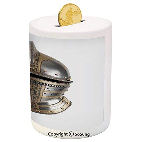 SoSung Medieval Ceramic Piggy Bank,Iron Helmet of Medieval Knight Heavy Headdress Tournament Tradition Design Art 3D Printed Ceramic Coin Bank Money Box for Kids & Adults,Grey and Tan