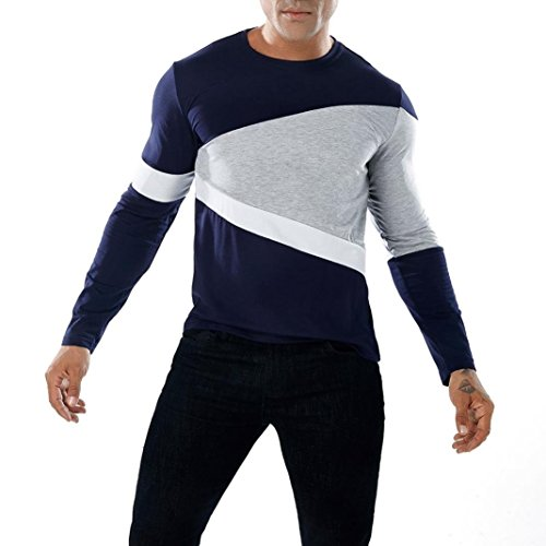 - NREALY Men's Blouse Fashion Casual Patchwork Slim Long Sleeve T Shirt Muscle Top (XL, Navy)