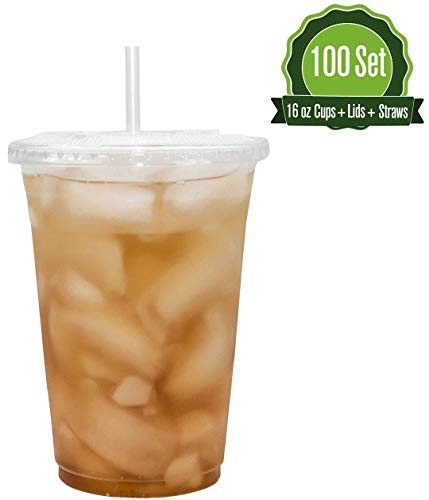 16oz Clear Plastic Cups with Flat Lids and Straws (100 Set)