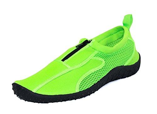Rockin Footwear Women's Aqua Neon Zippers Green Rubber Water Shoe Size 6