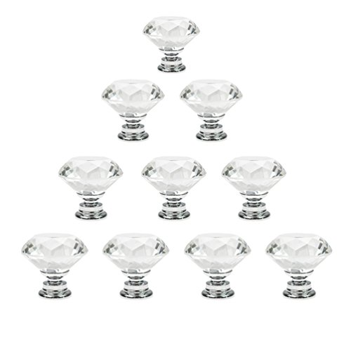 dxhycc 10 pcs crystal glass cabinet knobs 30mm diamond shape drawer kitchen cabinets dresser cupboard wardrobe pulls handles replacement range knobs