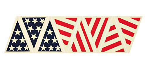 IdentiFire® American flag crown of helmet sticker, reflective and photoluminescent (glow in the dark) (Red/Blue combo) ()