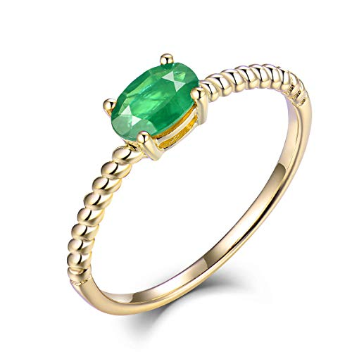 Beyond jewelry 14K Real Gold Solitaire Oval Emerald Ruby Sapphire Ring ()