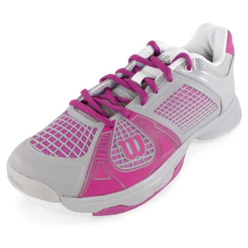Wilson-Women`s Rush NGX Tennis Shoes Gray and Fuchsia-(WRS317790-S14) (Shoes Tennis Women Wilson)