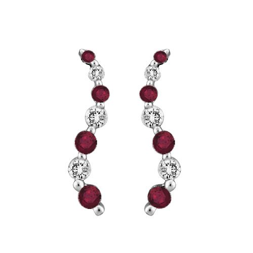 "14K White Gold 1/5 ct. Diamond with Alternating 1/2 ct. Ruby ""Journey of Love"" Curve Earrings"