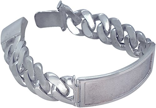 eJewelryPlus 16 mm Heavy Sterling Silver Miami Cuban Link ID Bracelet Handmade in USA 8 Inches 80 Grams Solid 925 Silver Custom Handmade Box (Cuban Link Id Bracelet)