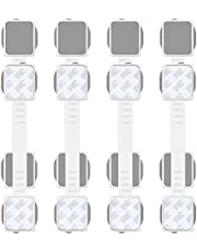 Baby Safety Cabinet Locks, Dual Action Multi-Purpose Child Safety Strap Locks for Fridge, Cabinets, Drawers, Dishwasher, Toilet Seat, 3m Adhesive, 8-pack