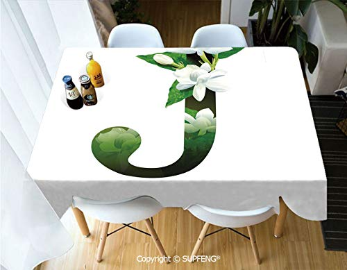 Rectangular tablecloth Abstract Floral Arrangement J Silhouette and Jasmine Blossoms ABC Concept (55 X 72 inch) Great for Buffet Table, Parties, Holiday Dinner, Wedding & More.Desktop decoration.Poly ()
