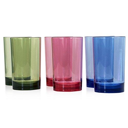 9 Ounce Juice (Classic Premium Quality Plastic 9oz Juice Tumbler | Set of 6 in 3 Assorted)