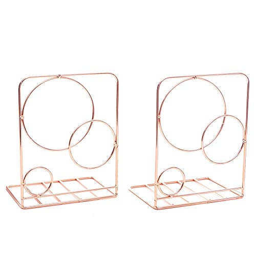 Agirlgle Bookends Metal Book Ends Heavy Duty Modern Decorative Bookend Bookshelf Decor for Bedroom Library Office School Book Display Desktop Organizer Gift (Rose Gold)