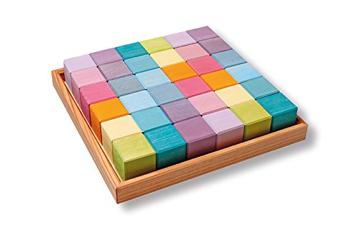 (Grimm's Pastel Mosaic Square of 36 Wooden Cubes in Storage Tray, 4x4 cm Size Building Blocks)